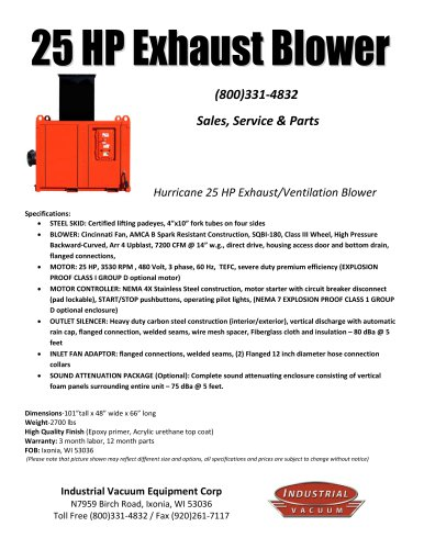 25 HP Exhaust Blower