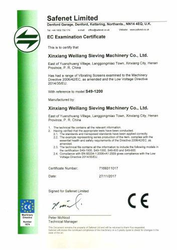 CE certificates vibrating screener