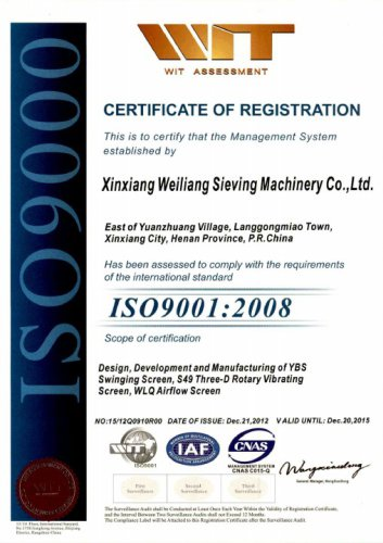 ISO certificates vibrating screeners