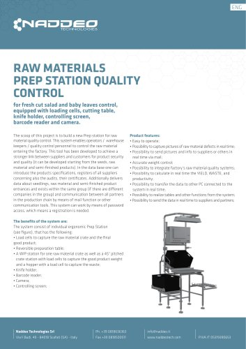 RAW MATERIALS PREP STATION QUALITY CONTROL