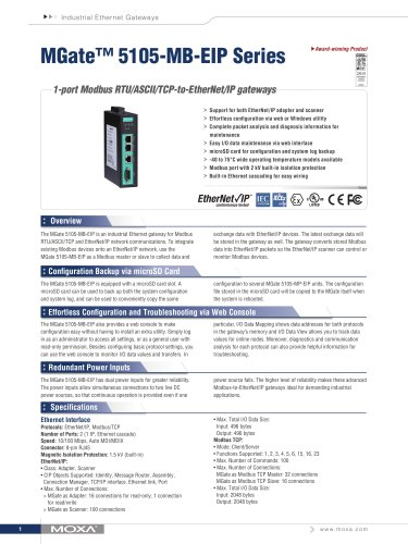 MGate 5105-MB-EIP Series