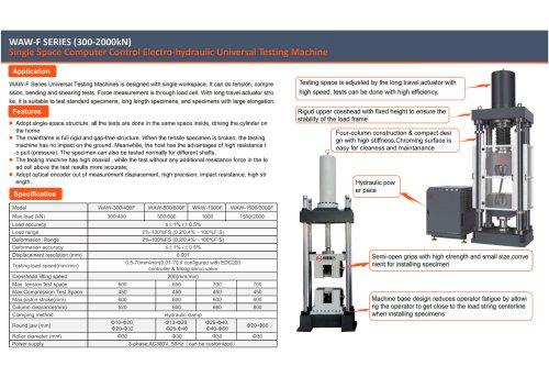 JINAN HENSGRAND WAW-F Series Single Space Computer Control Electro-hydraulic Universal Testing Machine