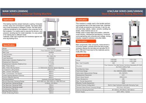 JINAN HENSGRAND WAW Series Electro-Hydraulic Universal Testing Machine