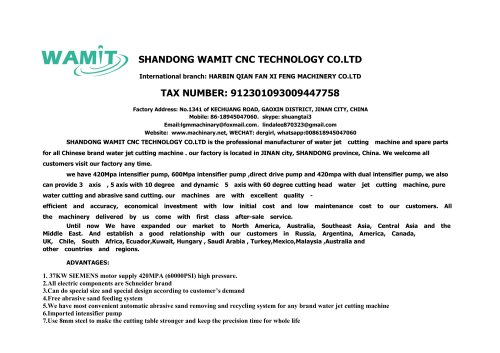 WMT3015-AL 3 AXIS waterjet cutting machine