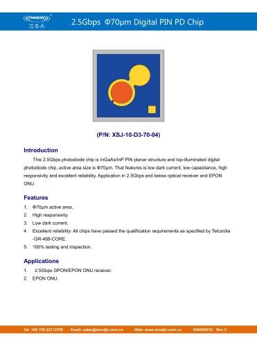 XSJ-10-D3-70-04/2.5Gbps Φ70μm Digital PIN PD Chip/PHOGRAIN