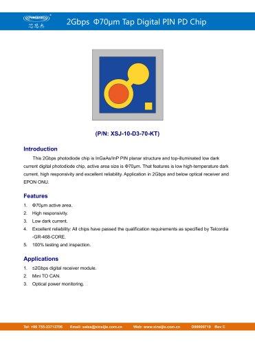 XSJ-10-D3-70-KT/2Gbps Φ70μm Tap Digital PIN PD Chip/PHOGRAIN