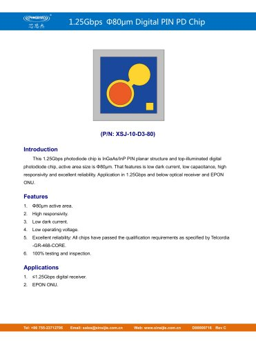 XSJ-10-D3-80/1.25Gbps Φ80μm Digital PIN PD Chip/PHOGRAIN