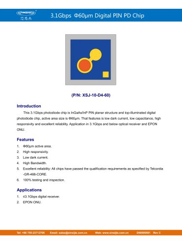 XSJ-10-D4-60/3.1Gbps Φ60μm Digital PIN PD Chip/PHOGRAIN