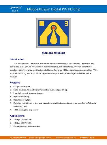 XSJ-10-D5-32/14Gbps Φ32μm Digital PIN PD Chip/PHOGRAIN