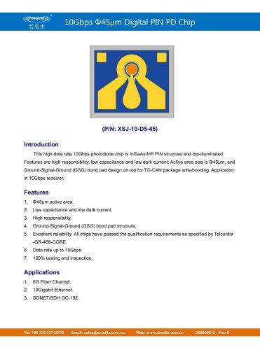 XSJ-10-D5-45/10Gbps Φ45μm Digital PIN PD Chip/PHOGRAIN