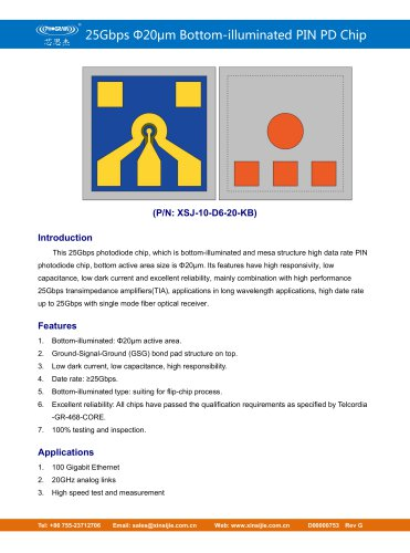 XSJ-10-D6-20-KB/25Gbps Φ20μm Bottom-illuminated PIN PD Chip