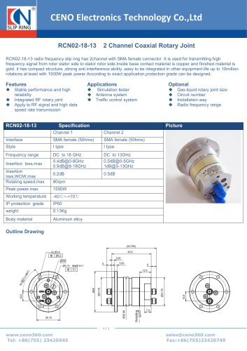 CENO 2 Channel Coaxial Rotary Joint RCN02-18-13
