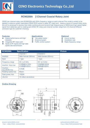 CENO 2 Channel Coaxial Rotary Joint RCN0208A