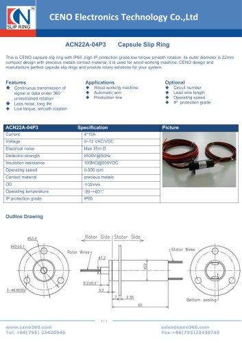 CENO Capsule Slip Ring ACN22A-04P3 IP65
