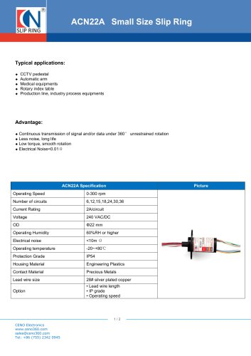 CENO Capsule Small Size Slip Ring ACN22A