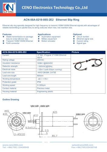CENO Ethernet slip ring ACN-56A-0218-08S-2E2