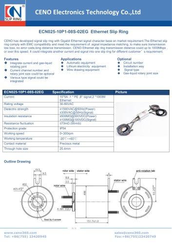 CENO Ethernet Slip Ring ECN025-10P1-08S-02EG