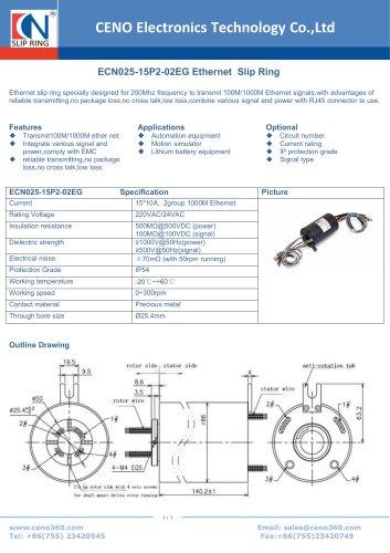 CENO Ethernet slip ring ECN025-15P2-02EG