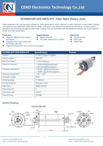 CENO Fiber Optic Rotary Joint ECN000-02P-02S-04EG-01F