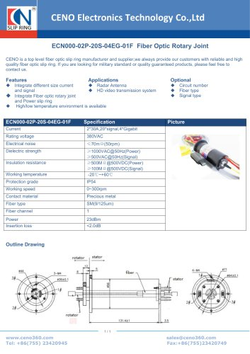 CENO Fiber Optic Rotary Joint ECN000-02P-20S-04EG-01F
