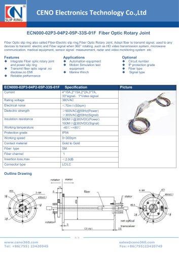 CENO Fiber Optic Rotary Joint ECN000-02P3-04P2-05P-33S-01F