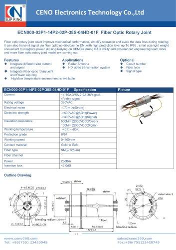 CENO Fiber Optic Rotary Joint ECN000-03P1-14P2-02P-38S-04HD-01F