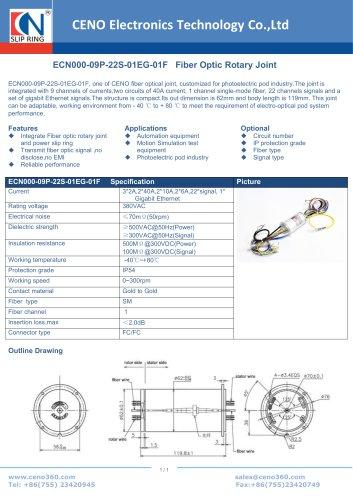 CENO Fiber Optic Rotary Joint ECN000-09P-22S-01EG-01F