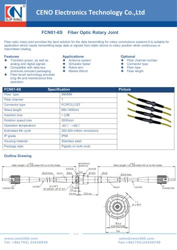 CENO Fiber Optic rotary joint no flange FCN01-6S