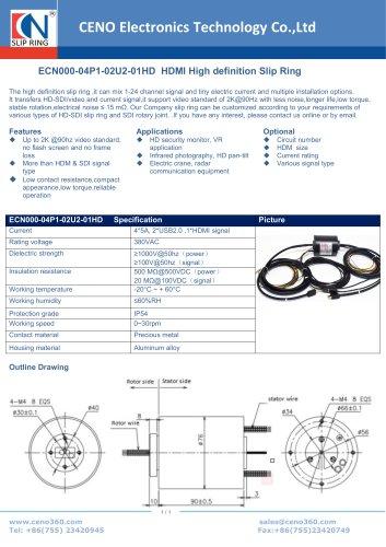 CENO HDMI High definition Slip Ring ECN000-04P1-02U2-01HD