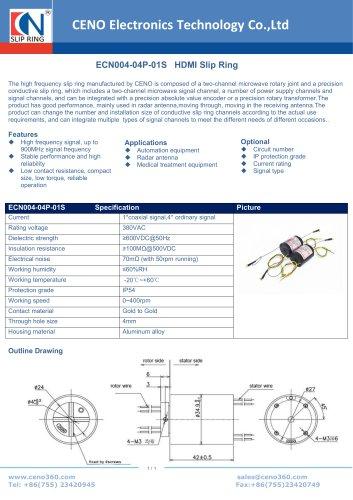 CENO HDMI Slip ring ECN004-04P-01S