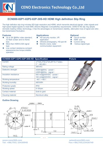 CENO High definition Slip Ring ECN000-02P1-02P2-02P-30S-HD