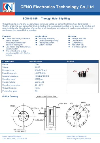 CENO High speed slip ring 3000RPM ECN015-02P