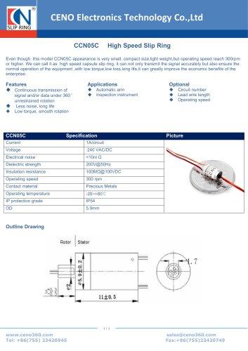 CENO High Speed Slip Ring Super Miniature capsule CCN05C