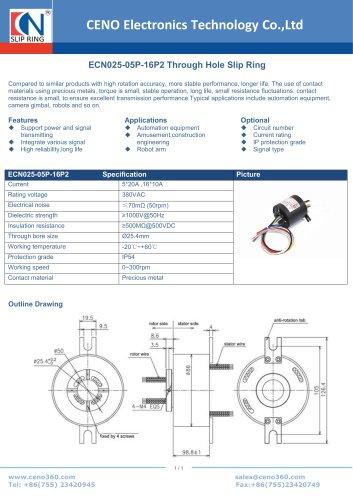 CENO Hollow shaft slip ring ECN025-05P-16P2