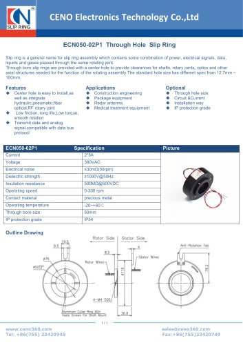 CENO Hollow shaft slip ring for package machine ECN050-02P1