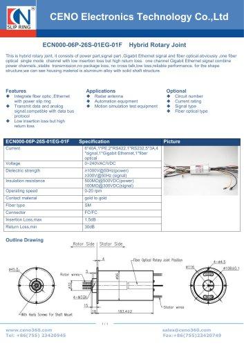 CENO Hybrid slip ring with fiber optic channel ECN000-06P-26S-01EG-01F