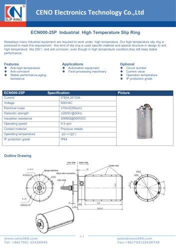 CENO Industrial High Temperature Slip Ring ECN000-25P