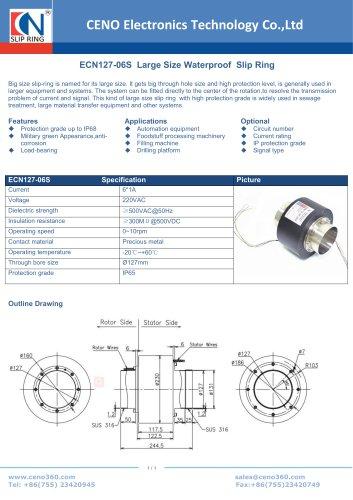 CENO Large Size Waterproof Slip Ring IP68 ECN127-06S