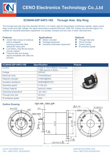 CENO motion simulator slip ring ECN040-02P-04P2-18S