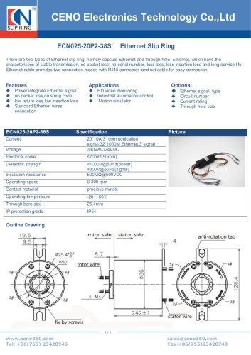 CENO Multi channel Ethernet slip ring ECN025-20P2-38S