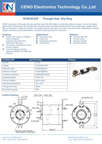 CENO multi channel slip ring for Rotary table ECN038-52P