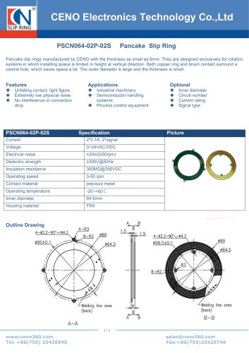 CENO Pancake slip ring with 6mm thickness PSCN064-02P-02S