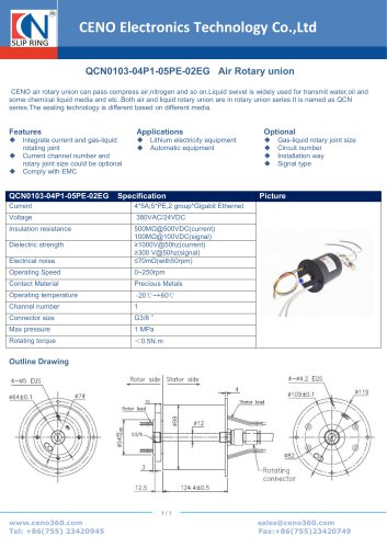 CENO Pneumatic rotary joint combine electrical slip ring QCN0103-04P1-05PE-02EG