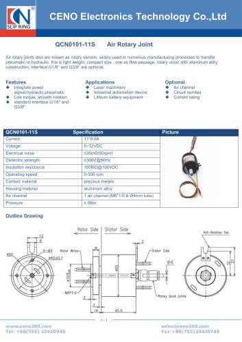 CENO pneumatic rotary joint combine power slip ring QCN0101-11S