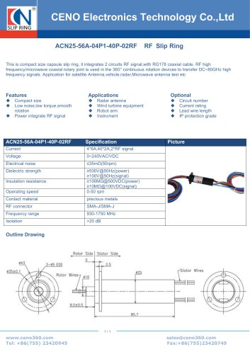 CENO RF Slip Ring ACN25-56A-04P1-40P-02RF