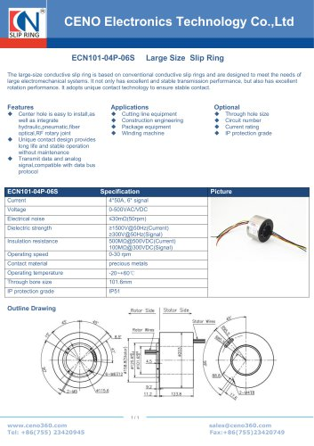CENO Slip ring for Packing machine ECN101-04P-06S