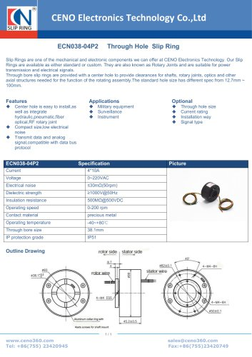 CENO Through Bore Slip Ring ECN038-04P2