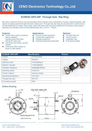 CENO Through bore slip ring ECN038-12P2-24P