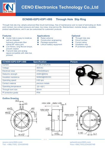 CENO Through bore slip ring with 80mm hole ECN080-02P2-03P1-09S