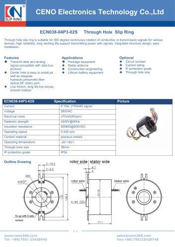 CENO Through bore slip ring with RS signal ECN038-04P3-02S